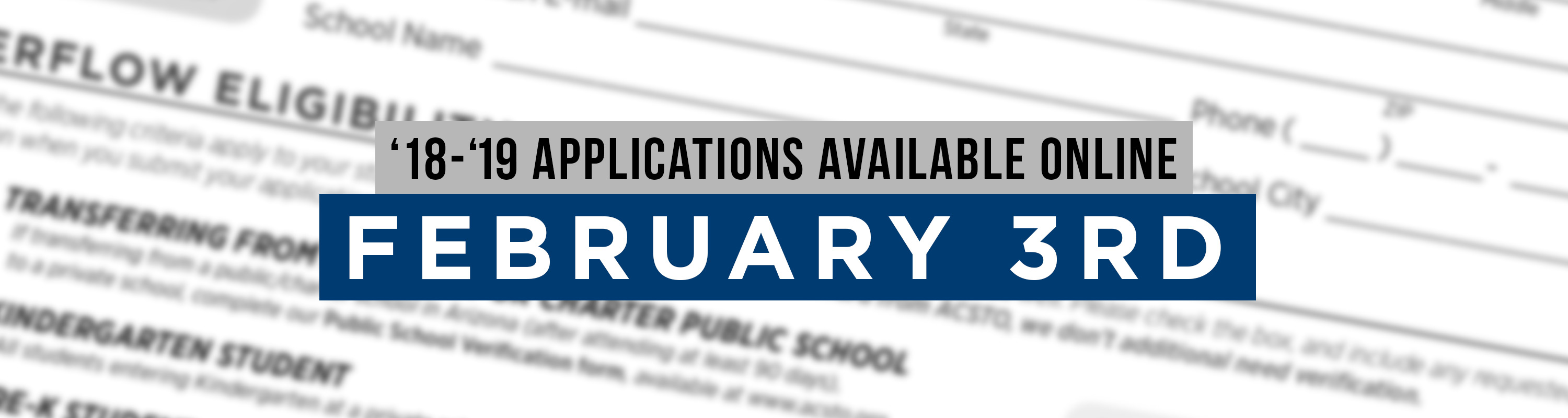 '18-'19 Applications Available Online February 3rd